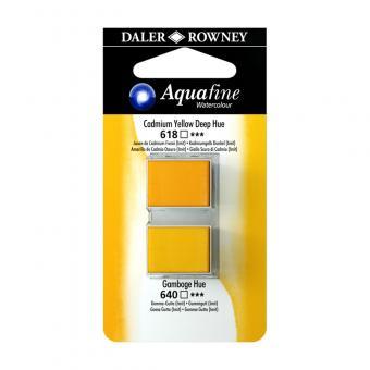 Aquafine Aquarellfarbe 2 Halb-Näpfe 618 Kadmiumgelb Dunkel / 640 Gummigutt (lmit)