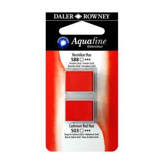 Aquafine Aquarellfarbe 2 Halb-Näpfe 588 Zinnober (Imit) / 503 Kadmiumrot (Imit)