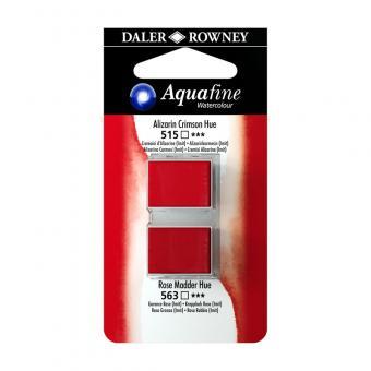 Aquafine Aquarellfarbe 2 Halb-Näpfe 515 Alizarinkarmesin (Imit) / 563 Krapplack Rosa (Imit)