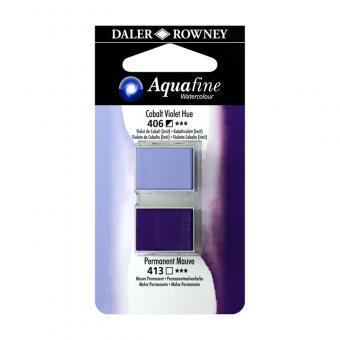 Aquafine Aquarellfarbe 2 Halb-Näpfe 406 Kobaltviolett (lmit) / 413 Permanentmauve