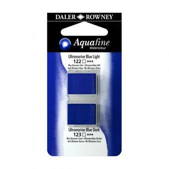 Aquafine Aquarellfarbe 2 Halb-Näpfe 122 Ultramarinblau Hell / 123 Ultramarinblau Dunkel