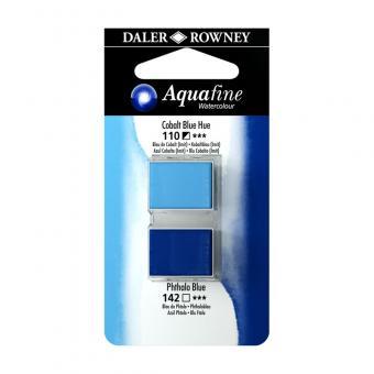 Aquafine Aquarellfarbe 2 Halb-Näpfe 110 Kobaltblau (Imit) / 142 Phthaloblau