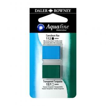 Aquafine Aquarellfarbe 2 Halb-Näpfe 112 Coelinblau (Imit) / 157 Transparenttürkis