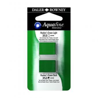 Aquafine Aquarellfarbe 2 Halb-Näpfe 353 Hooker´s Grün Hell / 352 Hooker´s Grün Dunkel