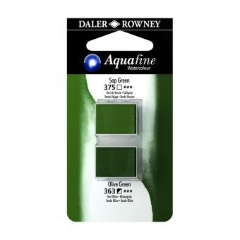 Aquafine Aquarellfarbe 2 Halb-Näpfe 375 Saft Grün / 363 Olivgrün