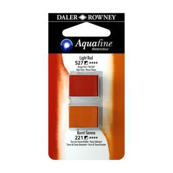 Aquafine Aquarellfarbe 2 Halb-Napfe  527 Rot Hell / 221 Siena gebrannt