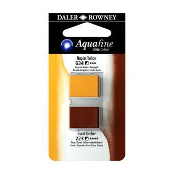 Aquafine Aquarellfarbe 2 Halb-Näpfe 634 Neapelgelb / 223 Umbra gebrannt