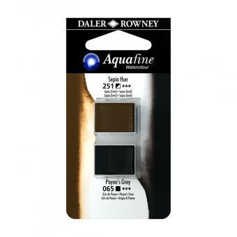 Aquafine Aquarellfarbe 2 Halb-Näpfe 251 Sepia (Imit) / 065 Payne`s Grau