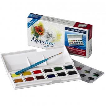 Aquafine Pocket Set mit 12 Halbnäpfen + 1 Pinsel