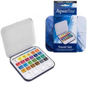 Aquafine Metalldose mit 24 Halbnäpfen + 1 Mini-Pinsel