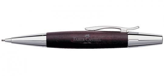 Faber Castell e-motion Drehbleistift aus dunkelbraunem Birnbaumholz  / Chrom  inkl.Gravur