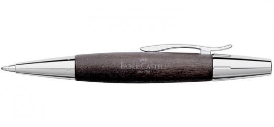 Faber Castell e-motion Drehkugelschreiber aus schwarzem Birnbaumholz / Chrom  inkl. Gravur