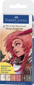 """Faber Castell Tuschestift Brush PITT artist pen B 6er Set """"Kaoiro"""""""