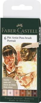 """Faber Castell Tuschestift Brush PITT artist pen B 6er Set """"Portait"""""""