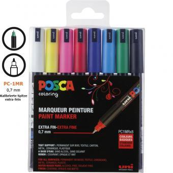 Posca Marker 8er Etui  Grundfarben PC-1MR 0,7mm kalibriert Extra Fine