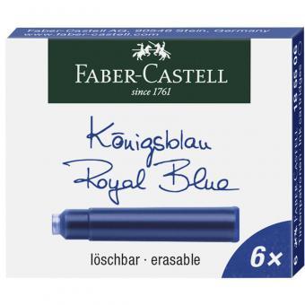 Faber Castell 6 x standart Tintenpatronen Königsblau löschbar