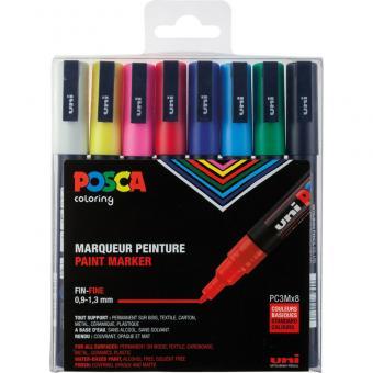 Posca Marker 8er Etui Grundfarben PC-3M 0,9 - 1,3mm