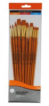 Daler Rowney Gold Taklon 10er Acryl-Pinselset Langstielig