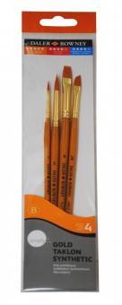 Daler Rowney Gold Taklon 4er Acryl-Pinselset Kurzstielig