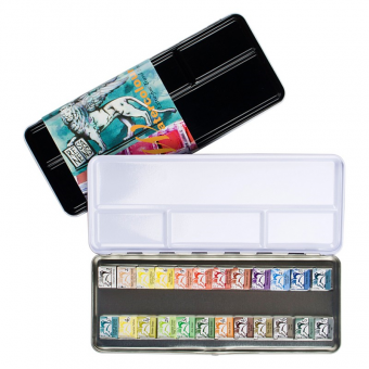 24er Set Renesans Aquarellfarbe Godet 1/2 Napf Metalletui