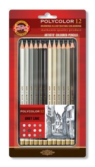 Polycolor Künstlerfarbstifte 12er Set Grautöne