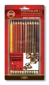 Polycolor Künstlerfarbstifte 12er Set Brauntöne