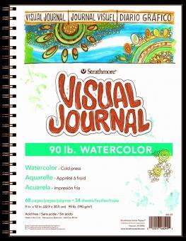 STRATHMORE 400 Watercolour Visual Journal Skizzenbuch, 34 Blatt, 190 g/m², Naturweiß