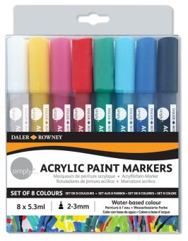 Daler Rowney Simply Acrylfarben Marker 8er Set