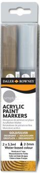 Daler Rowney Simply Acrylfarben Marker 2er Set Gold & Silber