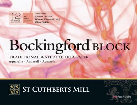 Bockingford Block, 12 Blatt, rundum geleimt, satiniert, 300 g/m2,