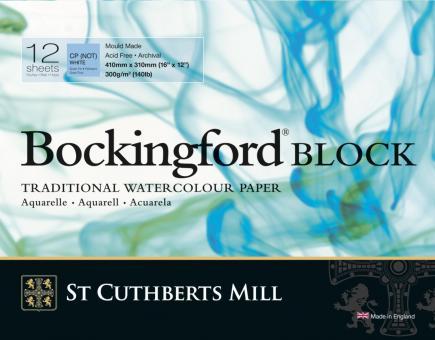 Bockingford Block, 12 Blatt, rundum geleimt, fein, 300 g/m2