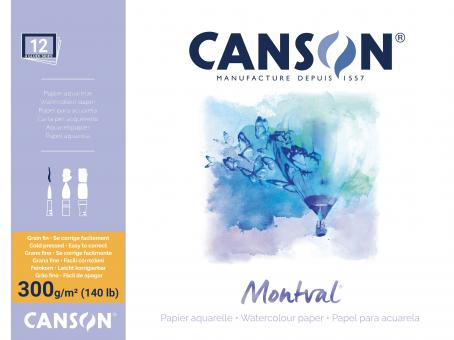 CANSON MONTVAL Block, 12 Blatt, rundum geleimt, Fein, 300 g/m2,