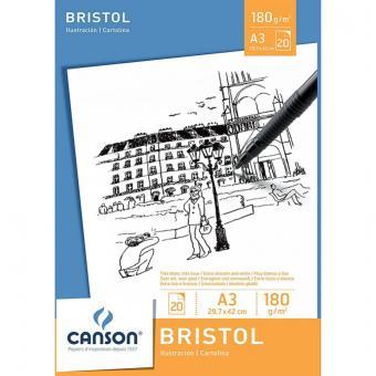 CANSON Zeichenpapier-Block BRISTOL, DIN A3, 180 g/qm, weiß