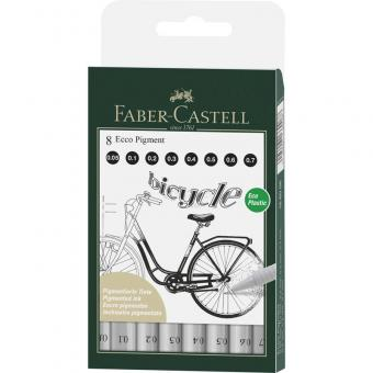 FABER CASTELL Ecco Pigment 8er Set Schwarz 0.05mm-0.7mm