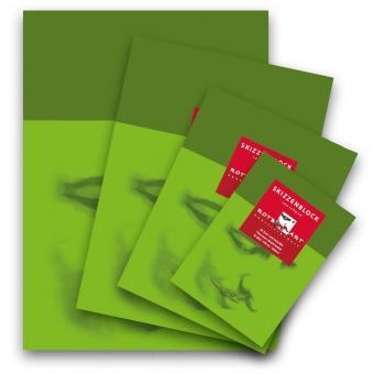 Rotbart Skizzenblock A4 120 g/m². Grünes Deckblatt