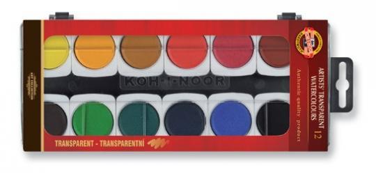 Koh I Noor Aquarell Malkasten mit 12 transparenten Farben