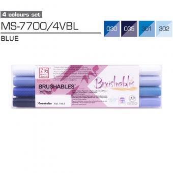 Kuretake ZIG Brushables Blue 4er Set