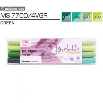 Kuretake ZIG Brushables Green 4er Set