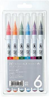 Kuretake ZIG Clean Color Real Brush 6 colours set