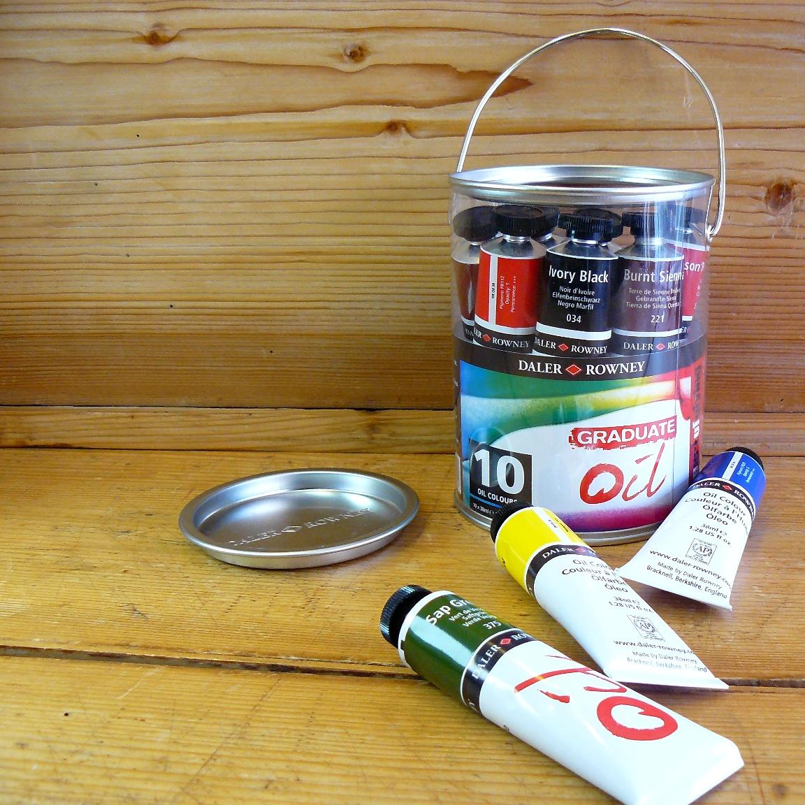 billigermalen dose mit 10 tuben daler rowney graduate oil farben 38ml k nstlerbedarf. Black Bedroom Furniture Sets. Home Design Ideas